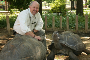 Gregg Hudson with Galapagos Tortoise
